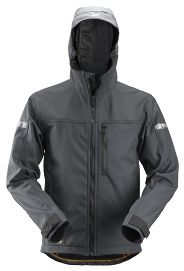 Snickers 1229 AllroundWork Softshell Jacket with Hood (Steel Grey/Black)